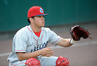 Catcher Sebastian Valle (9) of the Lakewood BlueClaws, Class A affiliate of the Philadelphia Phillies, prior to a game against the Greenville Drive on May 13, 2010, at Fluor Field at the West End in Greenville, S.C. Photo by: Tom Priddy/Four Seam Images