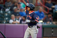 Portland Sea Dogs Jeremy Rivera (5) after scoring a run during an Eastern League game against the Erie SeaWolves on June 17, 2019 at UPMC Park in Erie, Pennsylvania.  Portland defeated Erie 6-3.  (Mike Janes/Four Seam Images)