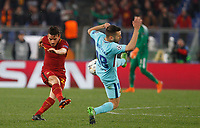 Roma s Alessandro Florenzi, left, kicks the ball as he is challenged by FC Barcelona Jordi Alba during the Uefa Champions League quarter final second leg football match between AS Roma and FC Barcelona at Rome's Olympic stadium, April 10, 2018.<br /> UPDATE IMAGES PRESS/Riccardo De Luca