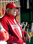 29 September 2009: Washington Nationals' Bench Coach Pat Corrales watches from the dugout prior to a game against the New York Mets at Nationals Park in Washington, DC. The Nationals rallied to defeat the Mets 4-3 in the second game of their final 3-game home series. Mandatory Credit: Ed Wolfstein Photo