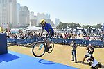 Vittorio Brumotti shows off his skills at sign on before the  start of Stage 5 The Meraas Stage final stage of the Dubai Tour 2018 the Dubai Tour&rsquo;s 5th edition, running 132km from Skydive Dubai to City Walk, Dubai, United Arab Emirates. 10th February 2018.<br /> Picture: LaPresse/Massimo Paolone | Cyclefile<br /> <br /> <br /> All photos usage must carry mandatory copyright credit (&copy; Cyclefile | LaPresse/Massimo Paolone)