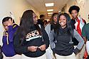 Terr'nique Delair and Domonique Crosby in hallways at George Washington Carver High School.