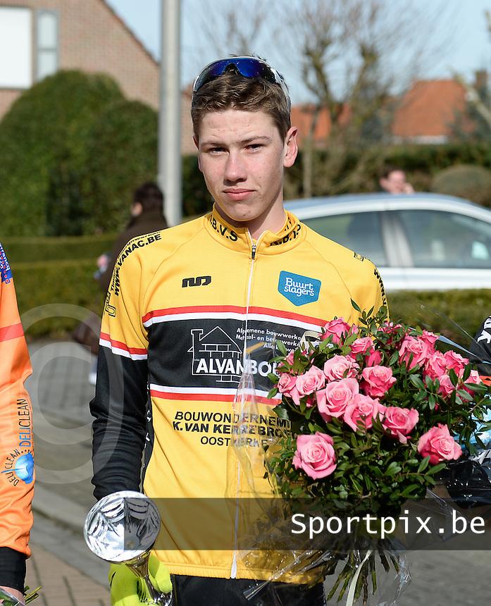 Meulebeke Clubkampioenschappen 2015 Nieuwelingen : <br /> Jarne Loeys clubkampioen Brugse Velosport <br /> foto VDB / BART VANDENBROUCKE