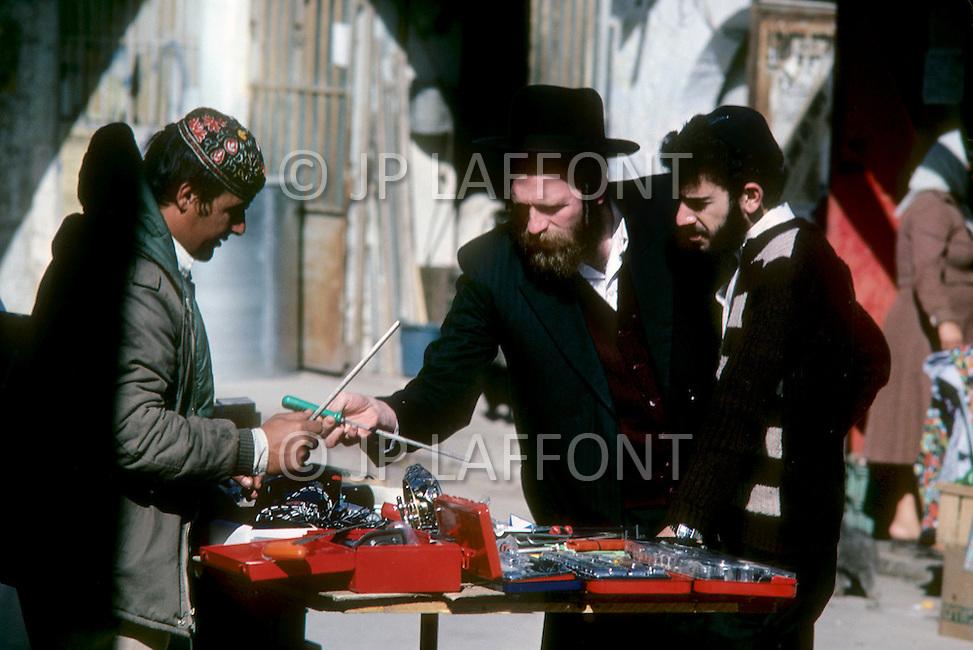Jerusalem, Israel, November, 1980. Street scenes.