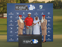Jon Rahm (ESP) winner of the DP World Tour Championship 2017, at Jumeirah Golf Estates, Dubai, United Arab Emirates. 19/11/2017<br /> Picture: Golffile | Thos Caffrey<br /> <br /> <br /> All photo usage must carry mandatory copyright credit     (© Golffile | Thos Caffrey)