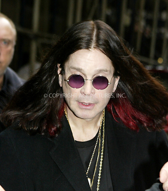 WWW.ACEPIXS.COM . . .  ..NEW YORK, OCTOBER 21, 2004: Ozzy Osbourne departing from his Midtown hotel. Please byline: ACE007 - ACE PICTURES... *** ***  ..Ace Pictures, Inc:  ..Alecsey Boldeskul (646) 267-6913 ..Philip Vaughan (646) 769-0430..e-mail: info@acepixs.com..web: http://www.acepixs.com