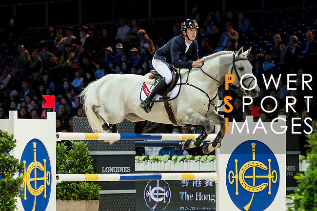 Bertram Allen on Hector van d'Abdijhoeve competes during competition Table A Against the Clock at the Longines Masters of Hong Kong on 19 February 2016 at the Asia World Expo in Hong Kong, China. Photo by Li Man Yuen / Power Sport Images