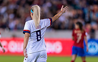HOUSTON, TX - FEBRUARY 03: Julie Ertz #8 of the United States motions for a corner during a game between Costa Rica and USWNT at BBVA Stadium on February 03, 2020 in Houston, Texas.