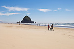 Couple walking dog on beach near Haystack Rock; Cannon Beach on the Oregon Coast.