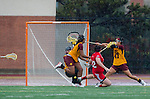 Los Angeles, CA 02/28/14 - Liz Shaeffer (USC #11), Drew Jackson (USC #14), Nina Kelty (USC #47) and Kirsten Viscount (Marist #22) in action during the Marist Red Foxes vs University of Southern California Trojans NCAA Women's lacrosse game at Loker Track Stadium on the USC Campus.  Marist defeated USC 12-10.