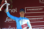 Jakob Fuglsang (DEN) Astana Pro Team finishes in 2nd place on the podium at the end of Strade Bianche 2019 running 184km from Siena to Siena, held over the white gravel roads of Tuscany, Italy. 9th March 2019.<br /> Picture: Eoin Clarke | Cyclefile<br /> <br /> <br /> All photos usage must carry mandatory copyright credit (&copy; Cyclefile | Eoin Clarke)
