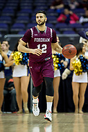 Washington, DC - MAR 7, 2018: Fordham Rams guard Joseph Chartouny (12) brings the ball up court in game between G.W. and Fordham during first round action of the Atlantic 10 Basketball Tournament at the Capital One Arena in Washington, DC. (Photo by Phil Peters/Media Images International)
