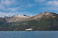 Alaska marine highway ferry travels in Passage canal outside Whittier, Prince William Sound, Chugach National Forest, southcentral, Alaska.
