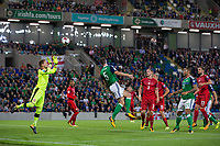 Northern Ireland's Jonny Evans scores the opening goal     <br /> <br /> <br /> Photographer Craig Mercer/CameraSport<br /> <br /> FIFA World Cup Qualifying - European Region - Group C - Northern Ireland v Czech Republic - Monday 4th September 2017 - Windsor Park - Belfast<br /> <br /> World Copyright &copy; 2017 CameraSport. All rights reserved. 43 Linden Ave. Countesthorpe. Leicester. England. LE8 5PG - Tel: +44 (0) 116 277 4147 - admin@camerasport.com - www.camerasport.com