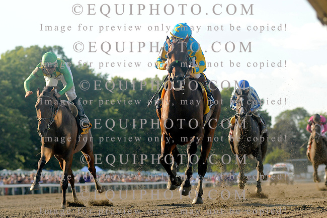 American Pharoah #4 with Victor Espinoza riding, won the $1,750,000 Grade 1 William Hill Haskell Invitational at Monmouth Park in Oceanport, New Jersey on Sunday August 2, 2015.  Photo By Melissa Wirth/EQUI-PHOTO.