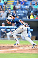 Columbia Fireflies center fielder Edgardo Fermin (10) swings at a pitch during a game against the Asheville Tourists at McCormick Field on August 3, 2018 in Asheville, North Carolina. The Fireflies defeated the Tourists 6-3. (Tony Farlow/Four Seam Images)