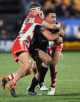 Ken Maumalo on the attack.<br /> NRL Premiership rugby league. Vodafone Warriors v St George Illawarra. Mt Smart Stadium, Auckland, New Zealand. Friday 20 April 2018. &copy; Copyright photo: Andrew Cornaga / www.Photosport.nz