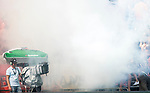 BLOEMENDAAL  -  fakkels van de bloemigans. cameraman in de rook. voor de  halve finale.    EHL, halve finale Rotterdam-Bloemendaal  .  COPYRIGHT  KOEN SUYK