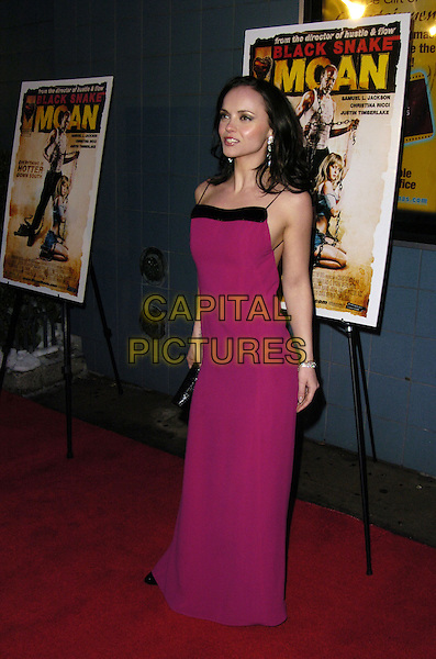 "CHRISTINA RICCI.Premiere of ""Black Snake Moan"" at the Chelsea West Cinemas, New York, New York, USA..February 19th, 2007.full length fuschia pink purple dress black clutch purse .CAP/ADM/BL.©Bill Lyons/AdMedia/Capital Pictures *** Local Caption ***"