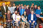Double celebrations for the Doyle family from Curraheen, Tralee and New Jersey, as the celebrate the christening of baby Finn Joseph and dad Kevins 40th birthday in the Ashe Hotel on Saturday. Seated l to r: (GM) Catherine Meader, dad Kevin, Evie, baby Finn Joseph, mom Olivia and Tom Quane (GF)