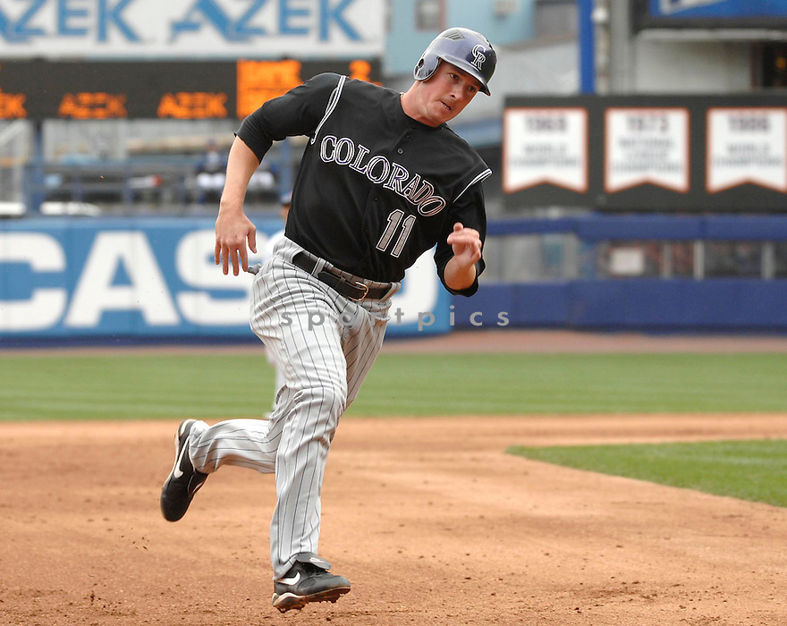 BRAD HAWPE, of the Colorado Rockies, in action during the Rockies game against the New York Mets in NY, New York on April 25, 2007...Rockies win 11-5...DAVID DUROCHIK / SPORTPICS..