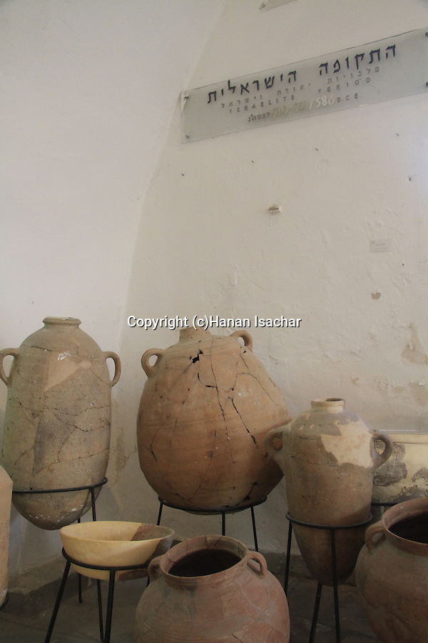 Israel, Tel Aviv-Yafo, antique jars on display at the Jaffa Museum of Antiquities