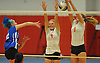 Babylon No. 4 Jillian Gaare, center, and No. 9 Margot Zamet try to defend against the spike attempt of Mattituck No. 5 Kathryn Zaloom during the Suffolk County varsity girls' volleyball Class C final against Babylon at Suffolk Community College Grant Campus on Monday, November 9, 2015. Mattituck won 3-1.