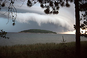Storm front moves over Partridge Island near Marquette Michigan on Lake Superior.