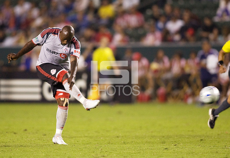 Toronto FC forward Ali Cerba sends off a rocket of a shot late in the match. Chivas USA defeated Toronto FC 2-0 at Home Depot Center stadium in Carson, California on Saturday, August 22, 2009...