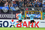 11.08.2019, Carl-Benz-Stadion, Mannheim, GER, DFB Pokal, 1. Runde, SV Waldhof Mannheim vs. Eintracht Frankfurt, <br /> <br /> DFL REGULATIONS PROHIBIT ANY USE OF PHOTOGRAPHS AS IMAGE SEQUENCES AND/OR QUASI-VIDEO.<br /> <br /> im Bild: Jan Hendrik Marx (SV Waldhof Mannheim #26) jubelt ueber das Tor zum 3:2<br /> Foto © nordphoto / Fabisch