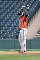 Byron Murray (37) of the AZL Giants gets ready to bat during a game against the AZL Angels at Tempe Diablo Stadium on July 6, 2015 in Tempe, Arizona. Angels defeated the Giants, 3-1. (Larry Goren/Four Seam Images)