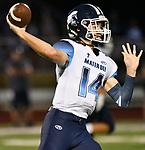 Mater Dei quarterback Reed Braundmeier throws downfield. Mater Dei played football at Althoff on Friday September 13, 2019. <br /> Tim Vizer/Special to STLhighschoolsports.com