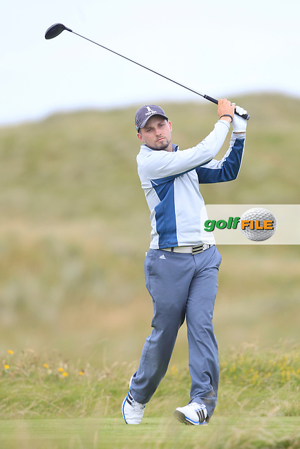 Keith Egan (Carton House) on the 2nd tee during Matchplay Round 4 of the South of Ireland Amateur Open Championship at LaHinch Golf Club on Saturday 25th July 2015.<br /> Picture:  Golffile | TJ Caffrey