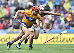 John Conlon of Clare in action against Daithi Burke of Galway during their All-Ireland semi-final at Croke Park. Photograph by John Kelly.