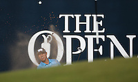 James Hahn (USA) chips to the pin on the last during Round One of the 145th Open Championship, played at Royal Troon Golf Club, Troon, Scotland. 14/07/2016. Picture: David Lloyd | Golffile.<br /> <br /> All photos usage must carry mandatory copyright credit (&copy; Golffile | David Lloyd)
