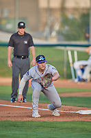 Owen Taylor (27) first baseman of the Grand Junction Rockies on defense against the Ogden Raptors at Lindquist Field on August 28, 2019 in Ogden, Utah. The Rockies defeated the Raptors 8-5. (Stephen Smith/Four Seam Images)
