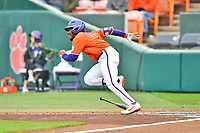 Clemson Tigers designated hitter Kier Meredith (1) runs to first base during a game against the North Carolina Tar Heels at Doug Kingsmore Stadium on March 9, 2019 in Clemson, South Carolina. The Tigers defeated the Tar Heels 3-2 in game one of a double header. (Tony Farlow/Four Seam Images)