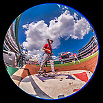 16 August 2017: Los Angeles Angels shortstop Andrelton Simmons stands on deck during a game against the Washington Nationals at Nationals Park in Washington, DC. The Angels defeated the Nationals 3-2 to split their 2-game series. Mandatory Credit: Ed Wolfstein Photo *** RAW (NEF) Image File Available ***
