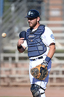 Seattle Mariners catcher Adam Martin (59) during practice before an Instructional League game against the Milwaukee Brewers on October 4, 2014 at Peoria Stadium Training Complex in Peoria, Arizona.  (Mike Janes/Four Seam Images)