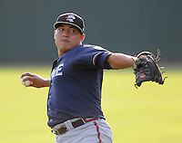 Starting pitcher Danilo Alvarez (16) of the Rome Braves, Class A affiliate of the Atlanta Braves, in the second game of a doubleheader against the Greenville Drive on August 15, 2011, at Fluor Field at the West End in Greenville, South Carolina. (Tom Priddy/Four Seam Images)
