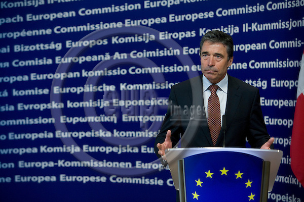 BRUSSELS - BELGIUM - 19 FEBRUARY 2008 -- Denmark ' s PM Anders FOGH RASMUSSEN during a press conference after his meeting with the European Commission President Jose Manuel BARROSO.  Photo: Erik Luntang/EUP-IMAGES/