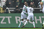06.10.2019, Borussia-Park - Stadion, Moenchengladbach, GER, DFL, 1. BL, Borussia Moenchengladbach vs. FC Augsburg, DFL regulations prohibit any use of photographs as image sequences and/or quasi-video<br /> <br /> im Bild Denis Zakaria (#8, Borussia Moenchengladbach) jubelt nach seinem Tor zum 1:0 mit Alassane Plea (#14, Borussia Moenchengladbach) <br /> <br /> Foto © nordphoto/Mauelshagen