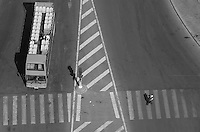 Overhead view of urban crosswalk