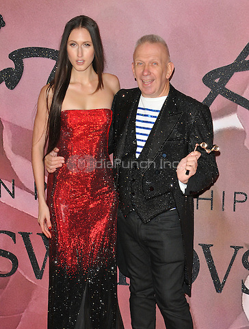 Anna van Ravenstein and Jean-Paul Gaultier at the Fashion Awards 2016, Royal Albert Hall, Kensington Gore, London, England, UK, on Monday 05 December 2016. <br /> CAP/CAN<br /> ©CAN/Capital Pictures /MediaPunch ***NORTH AND SOUTH AMERICAS ONLY***