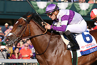 LEXINGTON, KY - April 08, 2017, #6 Irap and jockey Julien Leparoux win the 93rd running of the Toyota Blue Grass Grade 2 $1,000,000 for owner Reddam Racing and trainer Doug O'Neill at Keeneland Race Course.  Lexington, Kentucky. (Photo by Candice Chavez/Eclipse Sportswire/Getty Images)