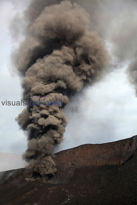 Ash clouds rising from vent along eruptive fissure of Fogo Volcano, Cape Verde