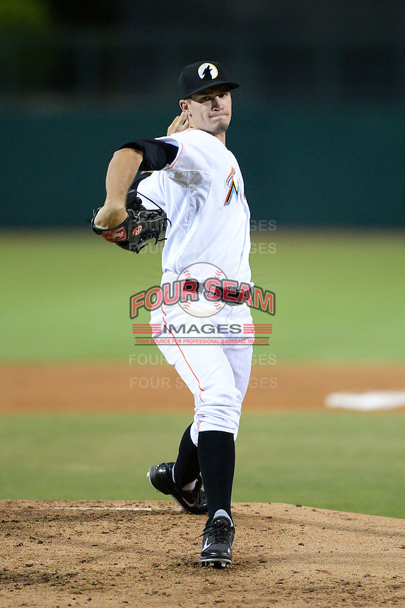 Glendale Desert Dogs pitcher Andrew Heaney (24), of the Miami Marlins organization, during an Arizona Fall League game against the Salt River Rafters on October 16, 2013 at Camelback Ranch in Phoenix, Arizona.  Glendale defeated Salt River 8-6.  (Mike Janes/Four Seam Images)