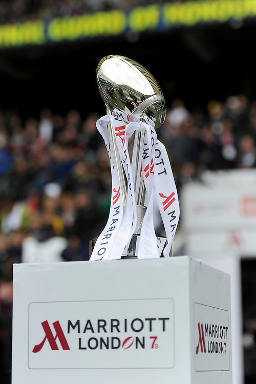 The Marriott London 7s trophy on display during Day Two of the iRB Marriott London Sevens at Twickenham on Sunday 11th May 2014 (Photo by Rob Munro)