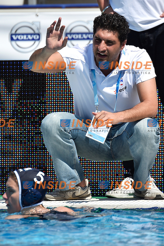 Filippos SAKELLIS, coach France <br /> Italy - France / Italia - Francia<br /> LEN European Water Polo Championships 2014<br /> Alfred Hajos -Tamas Szechy Swimming Complex<br /> Margitsziget - Margaret Island<br /> Day03 Women - July 16 <br /> Photo A.Staccioli/Insidefoto/