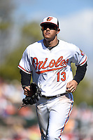 Baltimore Orioles infielder Manny Machado (13) during a Spring Training game against the Detroit Tigers on March 4, 2015 at Ed Smith Stadium in Sarasota, Florida.  Detroit defeated Baltimore 5-4.  (Mike Janes/Four Seam Images)
